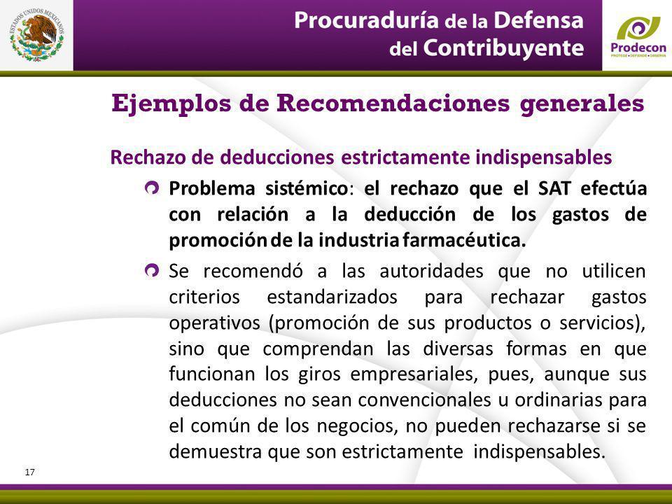 Ejemplos de Recomendaciones generales Rechazo de deducciones estrictamente indispensables Problema sistémico: el rechazo que el SAT efectúa con relación a la deducción de los gastos de promoción de la industria farmacéutica.