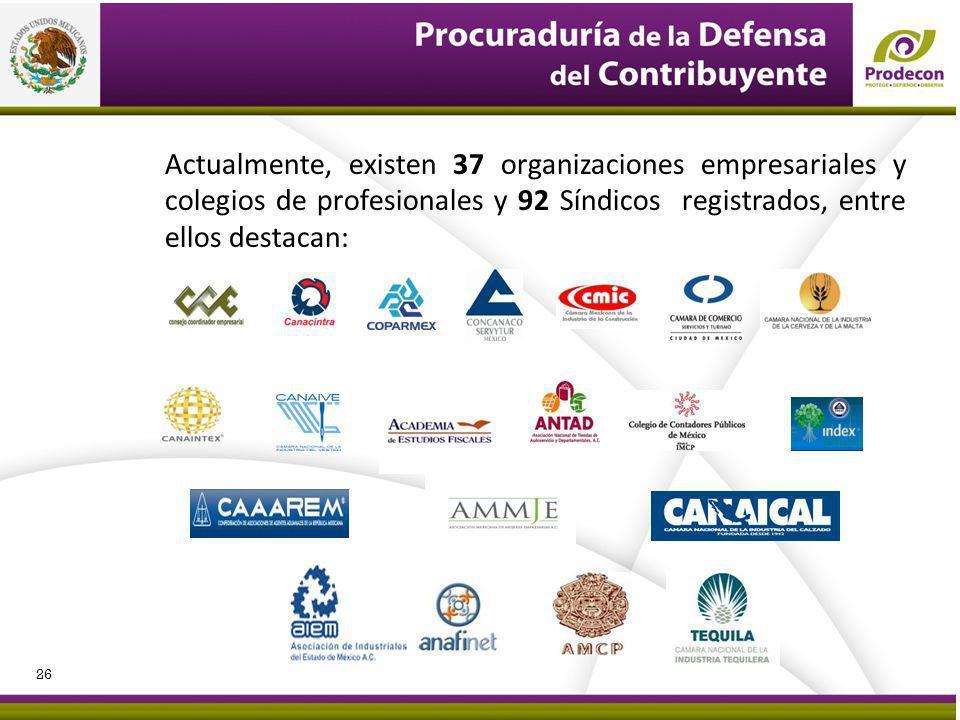 Actualmente, existen 37 organizaciones empresariales y colegios de profesionales y 92 Síndicos registrados, entre ellos destacan: 26