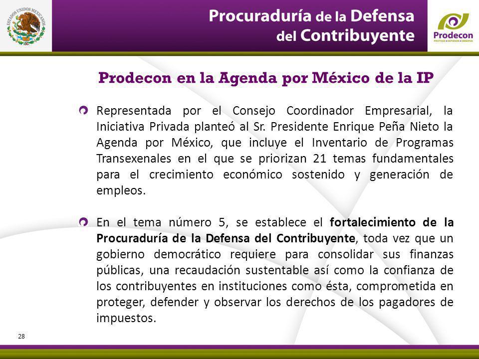 Prodecon en la Agenda por México de la IP Representada por el Consejo Coordinador Empresarial, la Iniciativa Privada planteó al Sr.