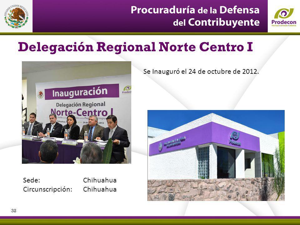 Delegación Regional Norte Centro I Se Inauguró el 24 de octubre de 2012. Sede: Chihuahua Circunscripción: Chihuahua 32