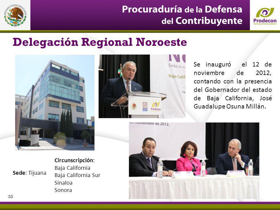 Delegación Regional Noroeste Se inauguró el 12 de noviembre de 2012, contando con la presencia del Gobernador del estado de Baja California, José Guadalupe Osuna Millán.