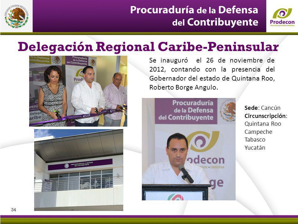 Delegación Regional Caribe-Peninsular Se inauguró el 26 de noviembre de 2012, contando con la presencia del Gobernador del estado de Quintana Roo, Roberto Borge Angulo.