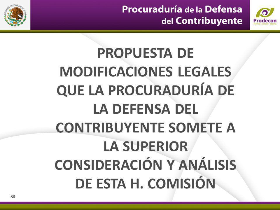 PROPUESTA DE MODIFICACIONES LEGALES QUE LA PROCURADURÍA DE LA DEFENSA DEL CONTRIBUYENTE SOMETE A LA SUPERIOR CONSIDERACIÓN Y ANÁLISIS DE ESTA H. COMIS
