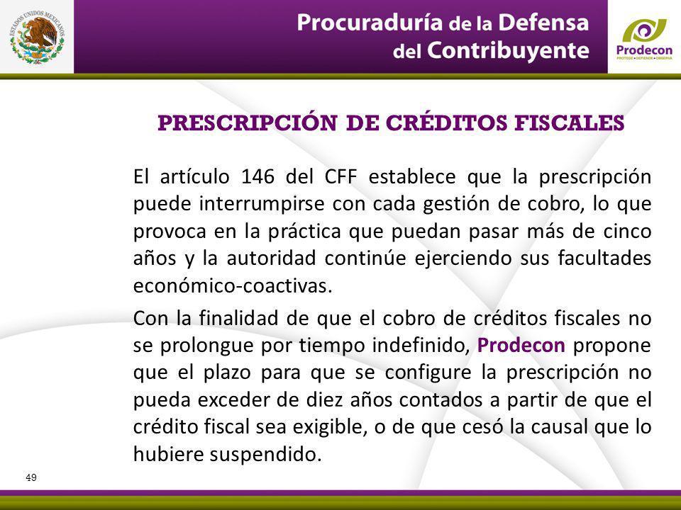 El artículo 146 del CFF establece que la prescripción puede interrumpirse con cada gestión de cobro, lo que provoca en la práctica que puedan pasar más de cinco años y la autoridad continúe ejerciendo sus facultades económico-coactivas.