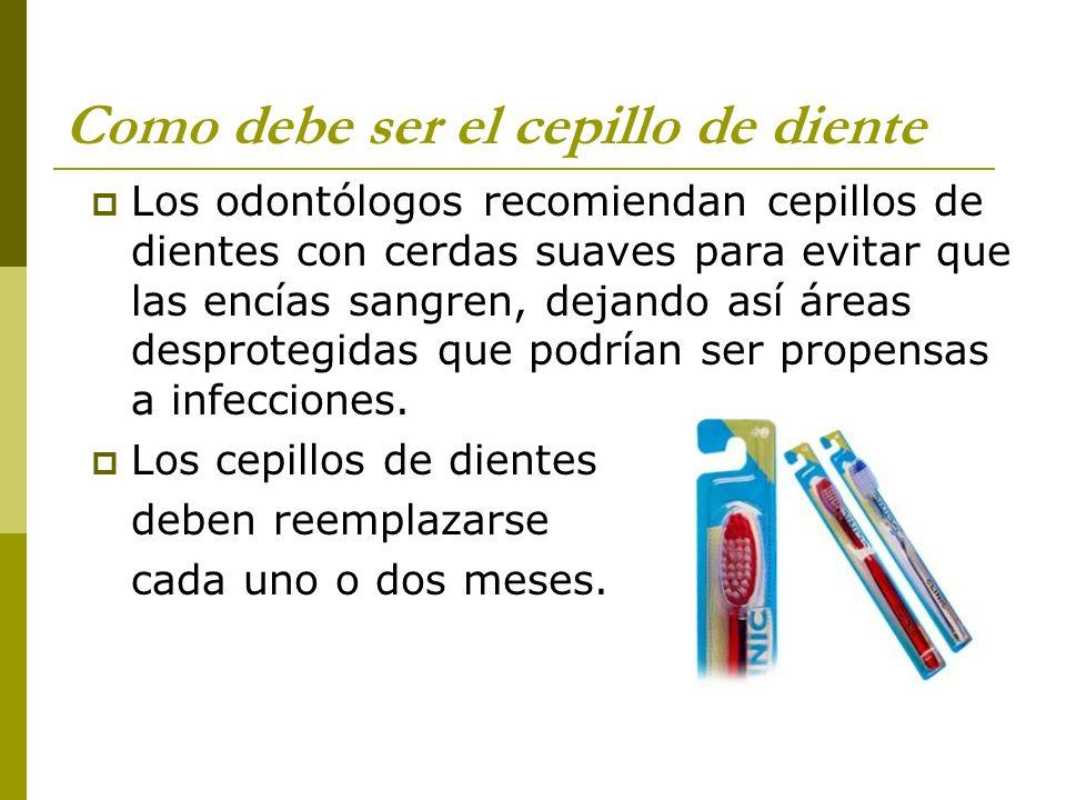 Como debe ser el cepillo de diente Los odontólogos recomiendan cepillos de dientes con cerdas suaves para evitar que las encías sangren, dejando así á