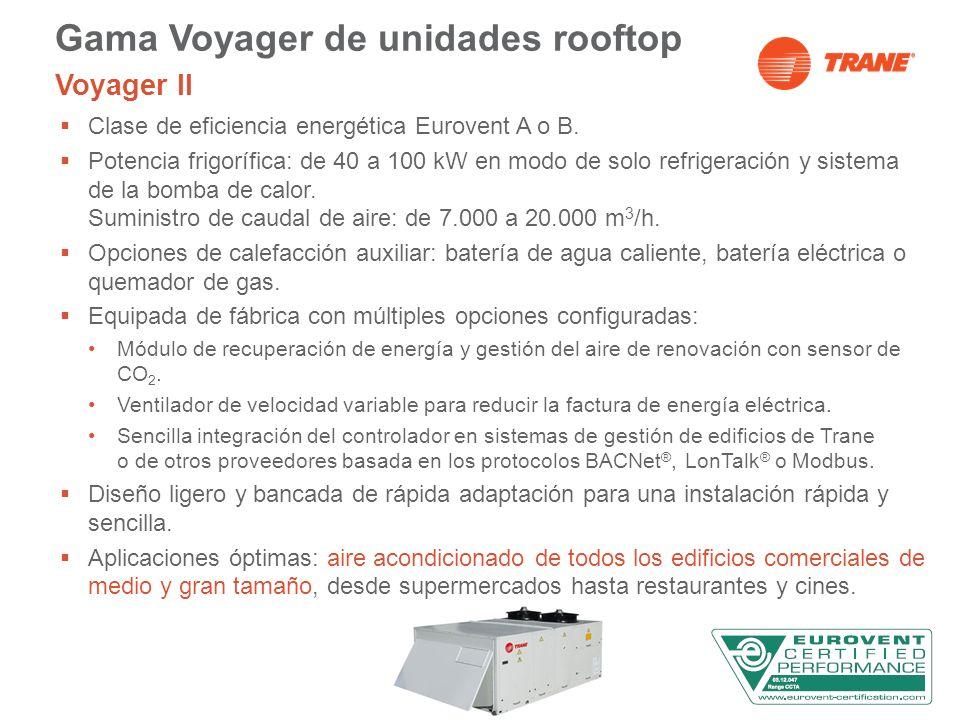 Gama Voyager de unidades rooftop Voyager II Clase de eficiencia energética Eurovent A o B. Potencia frigorífica: de 40 a 100 kW en modo de solo refrig