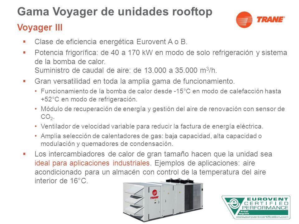 Gama Voyager de unidades rooftop Voyager III Clase de eficiencia energética Eurovent A o B. Potencia frigorífica: de 40 a 170 kW en modo de solo refri