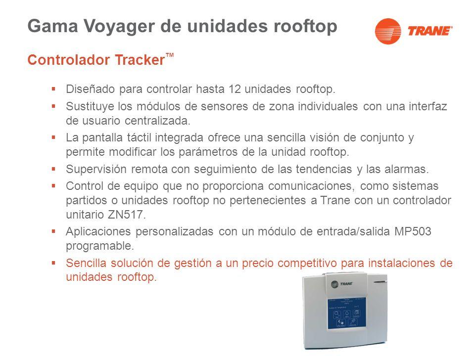 Gama Voyager de unidades rooftop Controlador Tracker Diseñado para controlar hasta 12 unidades rooftop. Sustituye los módulos de sensores de zona indi