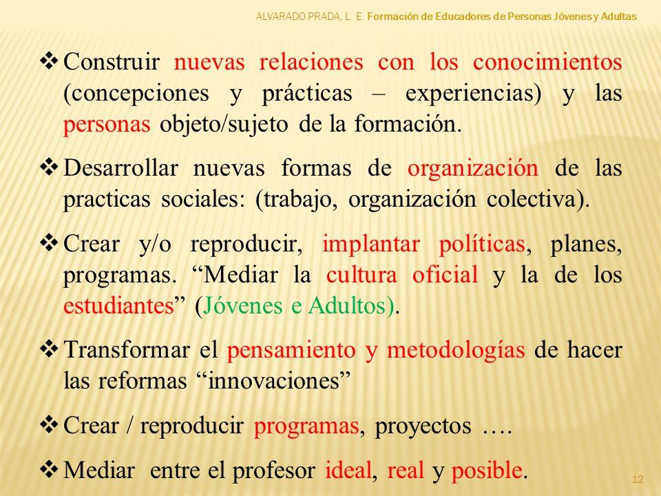 12 Construir nuevas relaciones con los conocimientos (concepciones y prácticas – experiencias) y las personas objeto/sujeto de la formación. Desarroll