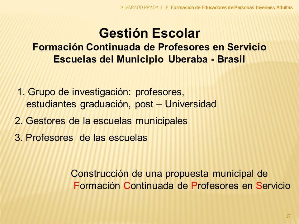 ALVARADO PRADA, L. E. Formación de Educadores de Personas Jóvenes y Adultas 17 Gestión Escolar Formación Continuada de Profesores en Servicio Escuelas