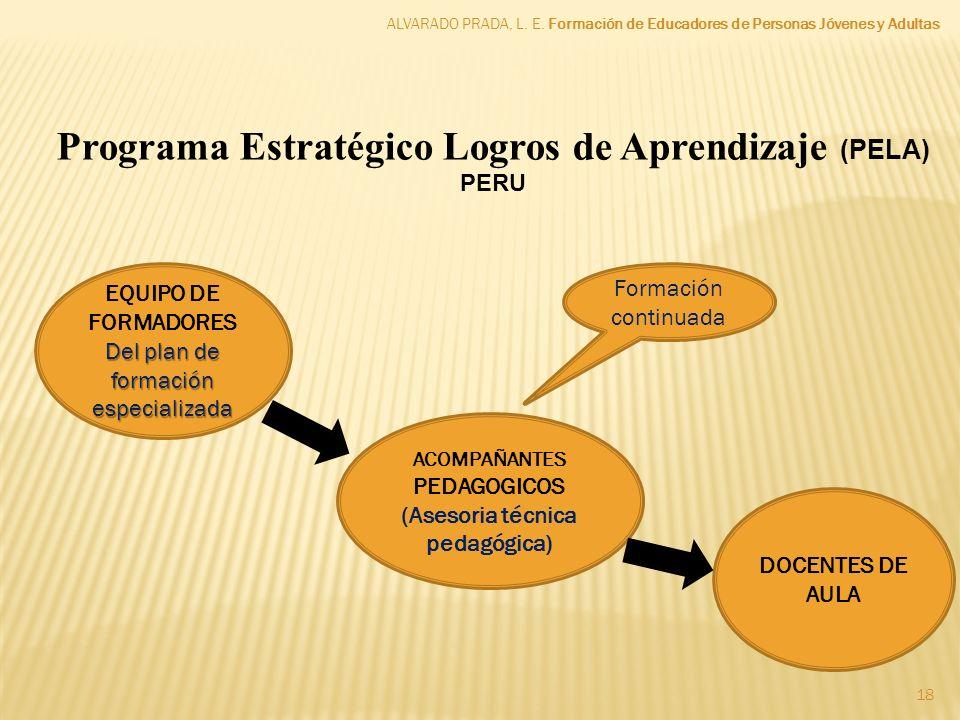 ALVARADO PRADA, L. E. Formación de Educadores de Personas Jóvenes y Adultas 18 Programa Estratégico Logros de Aprendizaje (PELA) PERU EQUIPO DE FORMAD