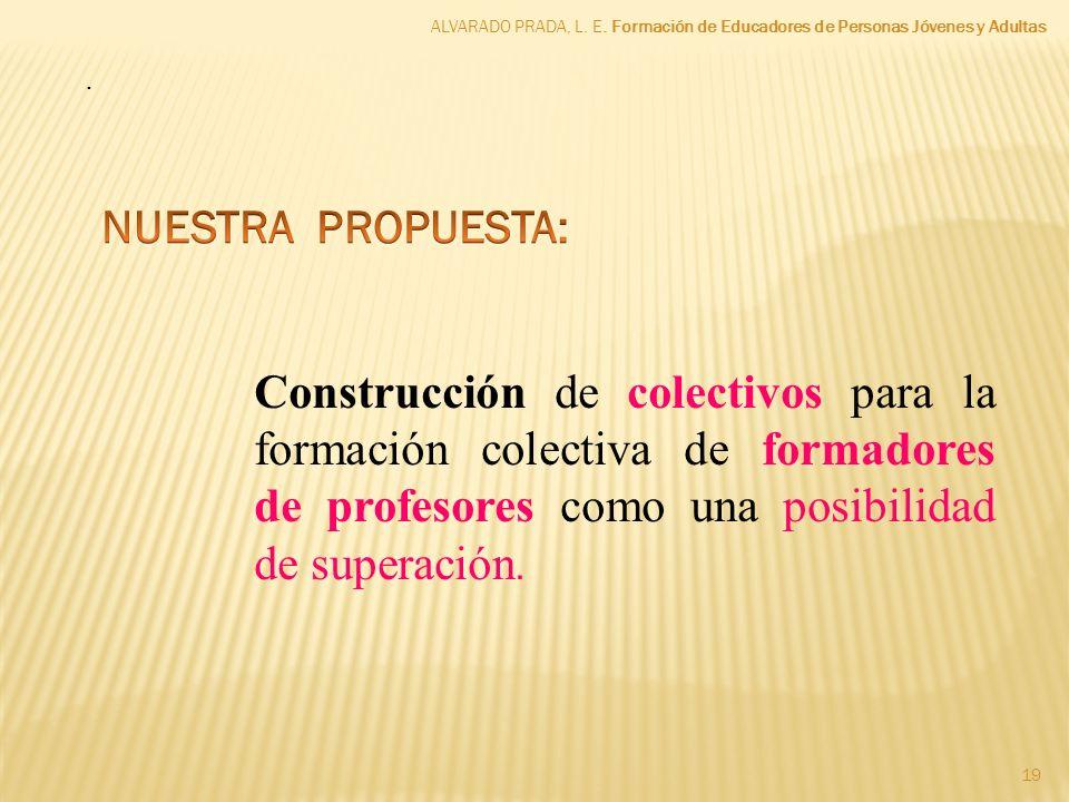 . Construcción de colectivos para la formación colectiva de formadores de profesores como una posibilidad de superación. ALVARADO PRADA, L. E. Formaci