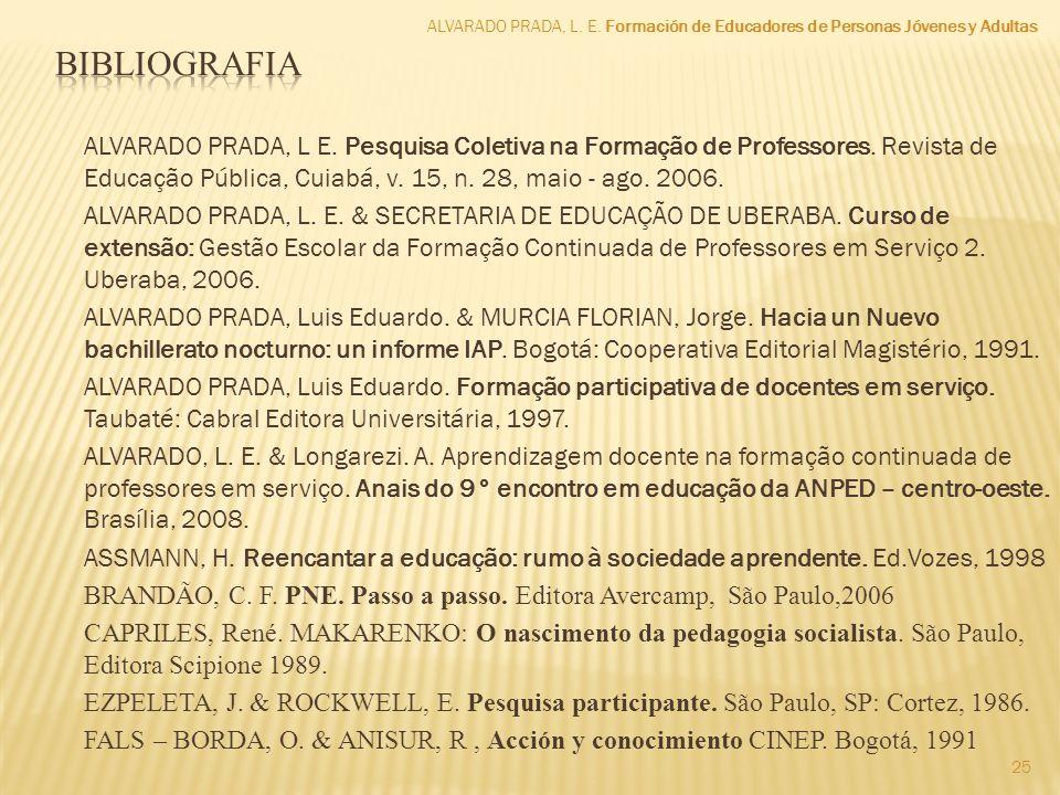 ALVARADO PRADA, L E. Pesquisa Coletiva na Formação de Professores. Revista de Educação Pública, Cuiabá, v. 15, n. 28, maio - ago. 2006. ALVARADO PRADA