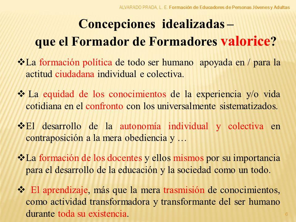 ALVARADO PRADA, L. E. Formación de Educadores de Personas Jóvenes y Adultas 6 La formación política de todo ser humano apoyada en / para la actitud ci