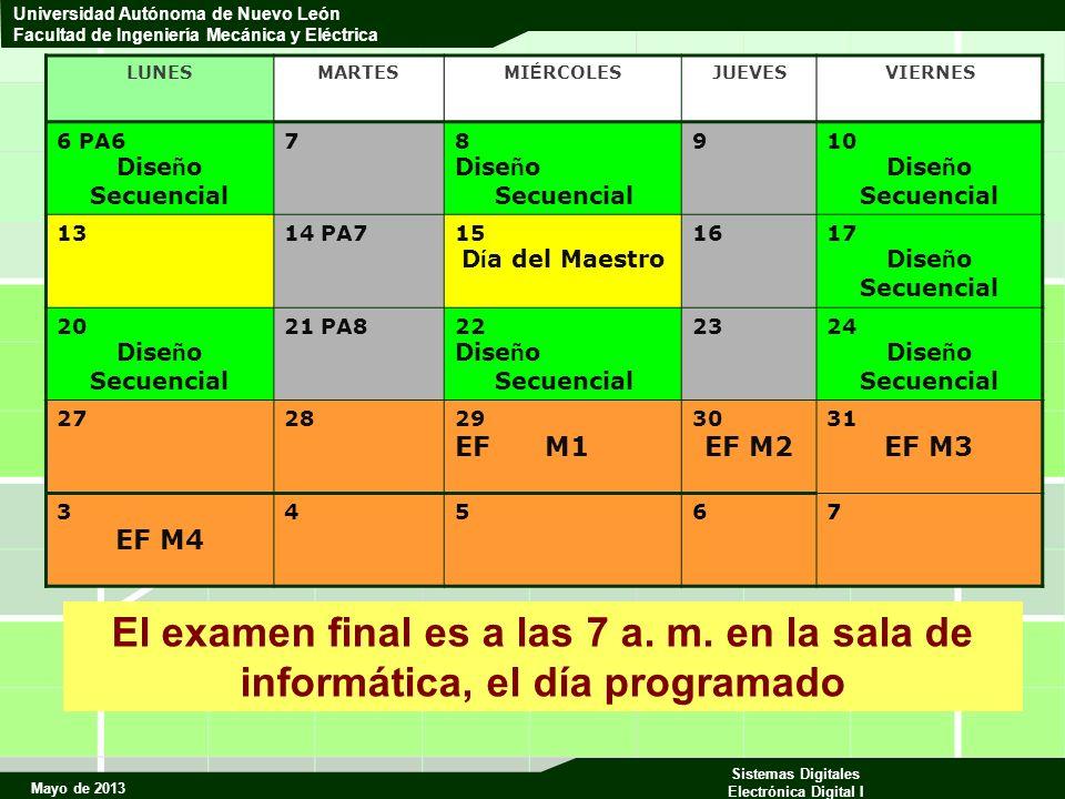 Mayo de 2013 Sistemas Digitales Electrónica Digital I Universidad Autónoma de Nuevo León Facultad de Ingeniería Mecánica y Eléctrica Obtención de las Ecuaciones H i = S2 + H i