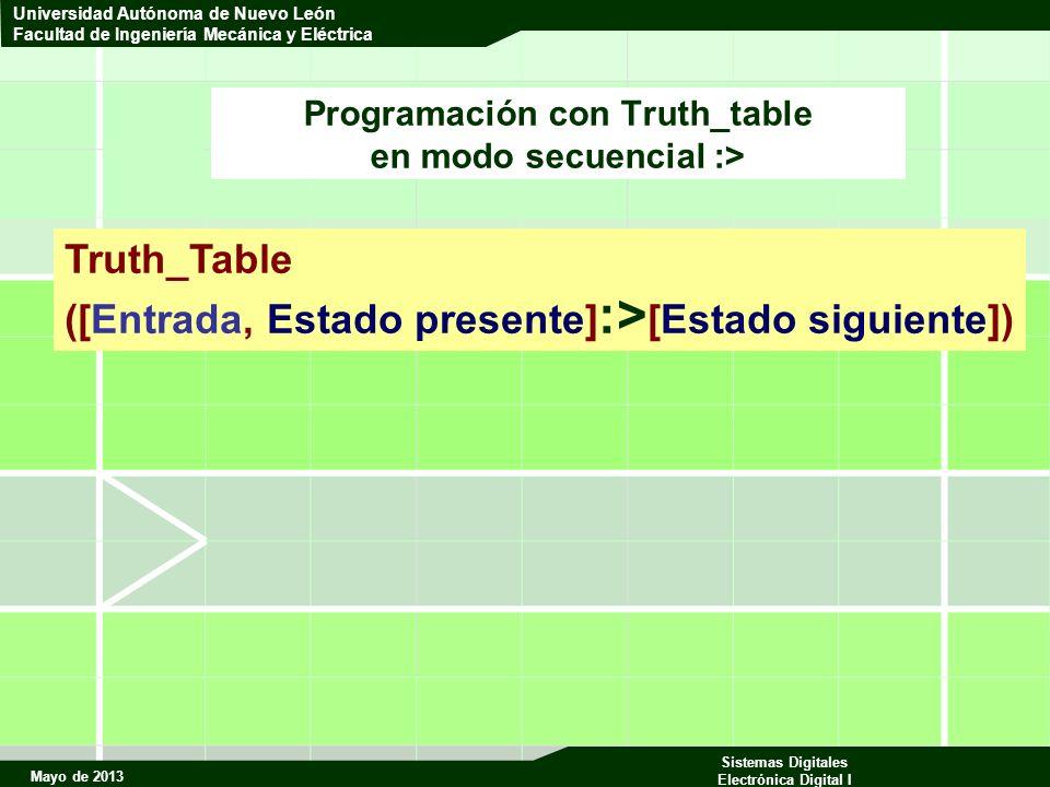 Mayo de 2013 Sistemas Digitales Electrónica Digital I Universidad Autónoma de Nuevo León Facultad de Ingeniería Mecánica y Eléctrica Programación con Truth_table en modo secuencial :> Truth_Table ([Entrada, Estado presente] :> [Estado siguiente])