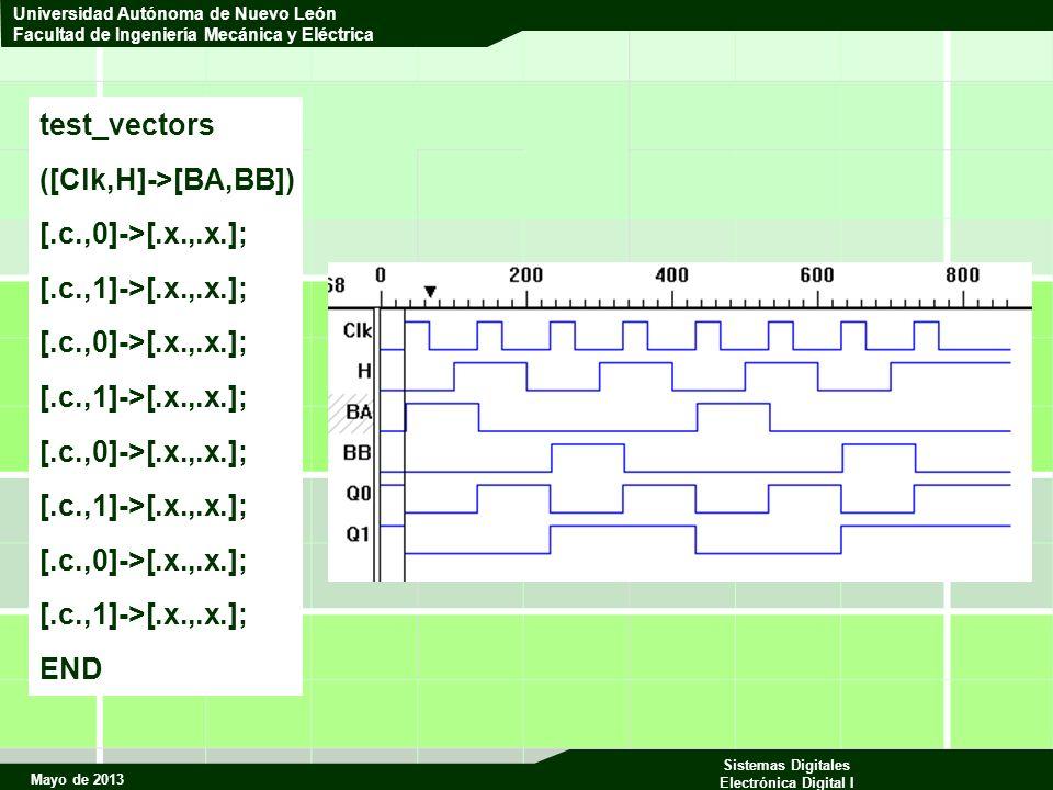 Mayo de 2013 Sistemas Digitales Electrónica Digital I Universidad Autónoma de Nuevo León Facultad de Ingeniería Mecánica y Eléctrica test_vectors ([Clk,H]->[BA,BB]) [.c.,0]->[.x.,.x.]; [.c.,1]->[.x.,.x.]; [.c.,0]->[.x.,.x.]; [.c.,1]->[.x.,.x.]; [.c.,0]->[.x.,.x.]; [.c.,1]->[.x.,.x.]; [.c.,0]->[.x.,.x.]; [.c.,1]->[.x.,.x.]; END