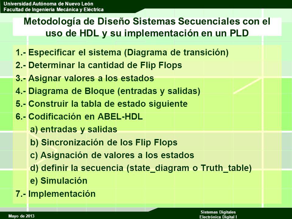 Mayo de 2013 Sistemas Digitales Electrónica Digital I Universidad Autónoma de Nuevo León Facultad de Ingeniería Mecánica y Eléctrica Metodología de Diseño Sistemas Secuenciales con el uso de HDL y su implementación en un PLD 1.- Especificar el sistema (Diagrama de transición) 2.- Determinar la cantidad de Flip Flops 3.- Asignar valores a los estados 4.- Diagrama de Bloque (entradas y salidas) 5.- Construir la tabla de estado siguiente 6.- Codificación en ABEL-HDL a) entradas y salidas b) Sincronización de los Flip Flops c) Asignación de valores a los estados d) definir la secuencia (state_diagram o Truth_table) e) Simulación 7.- Implementación