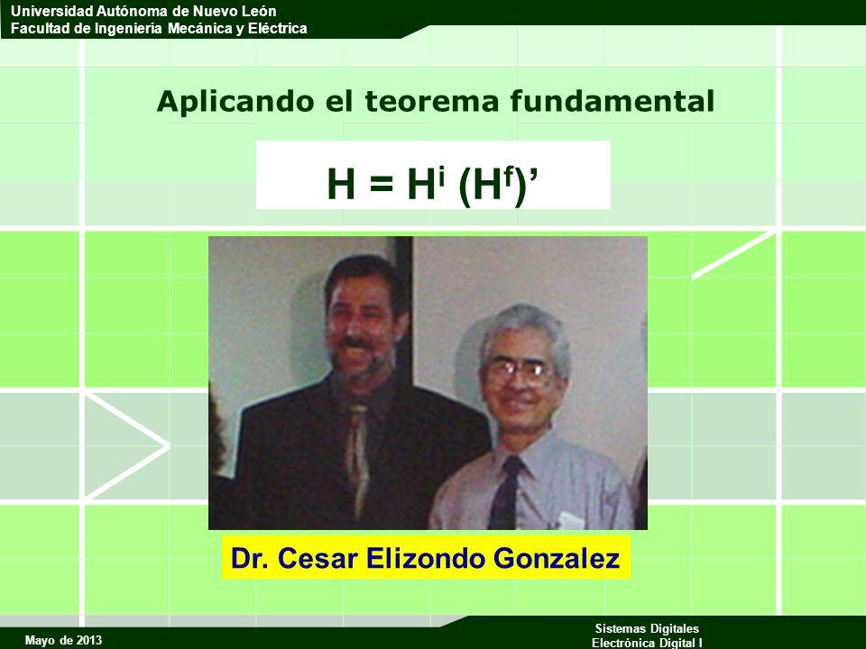 Mayo de 2013 Sistemas Digitales Electrónica Digital I Universidad Autónoma de Nuevo León Facultad de Ingeniería Mecánica y Eléctrica Aplicando el teorema fundamental H = H i (H f ) Dr.