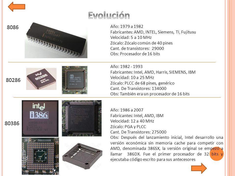 8086 80286 80386 Año: 1979 a 1982 Fabricantes: AMD, INTEL, Siemens, TI, Fujitusu Velocidad: 5 a 10 MHz Zócalo: Zócalo común de 40 pines Cant.