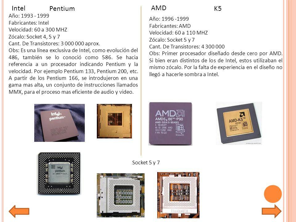 Año: 1993 - 1999 Fabricantes: Intel Velocidad: 60 a 300 MHZ Zócalo: Socket 4, 5 y 7 Cant.