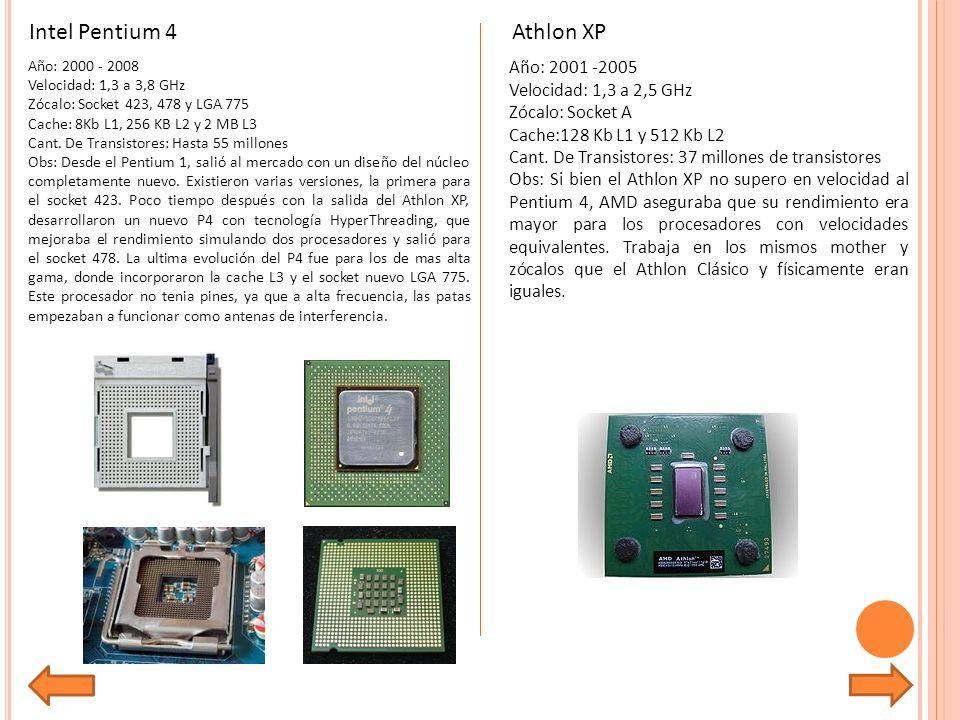 Año: 2000 - 2008 Velocidad: 1,3 a 3,8 GHz Zócalo: Socket 423, 478 y LGA 775 Cache: 8Kb L1, 256 KB L2 y 2 MB L3 Cant.