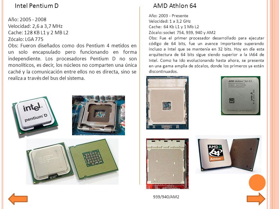 Año: 2005 - 2008 Velocidad: 2,6 a 3,7 MHz Cache: 128 KB L1 y 2 MB L2 Zócalo: LGA 775 Obs: Fueron diseñados como dos Pentium 4 metidos en un solo encapsulado pero funcionando en forma independiente.