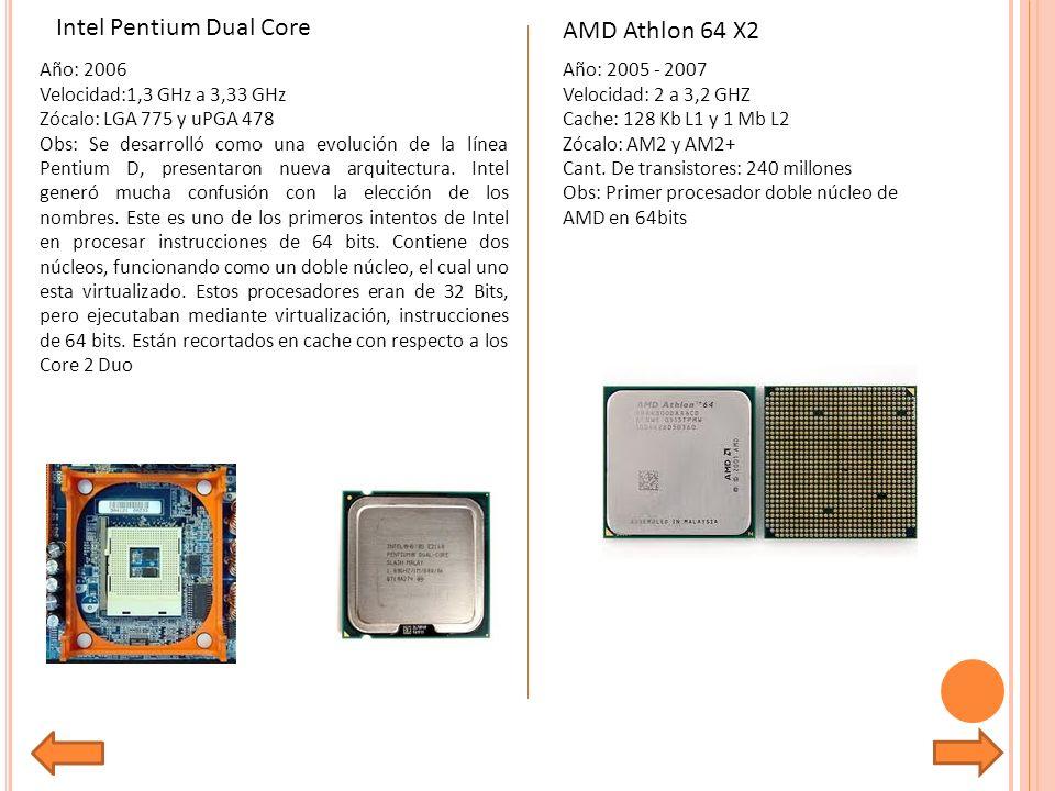 Año: 2006 Velocidad:1,3 GHz a 3,33 GHz Zócalo: LGA 775 y uPGA 478 Obs: Se desarrolló como una evolución de la línea Pentium D, presentaron nueva arquitectura.