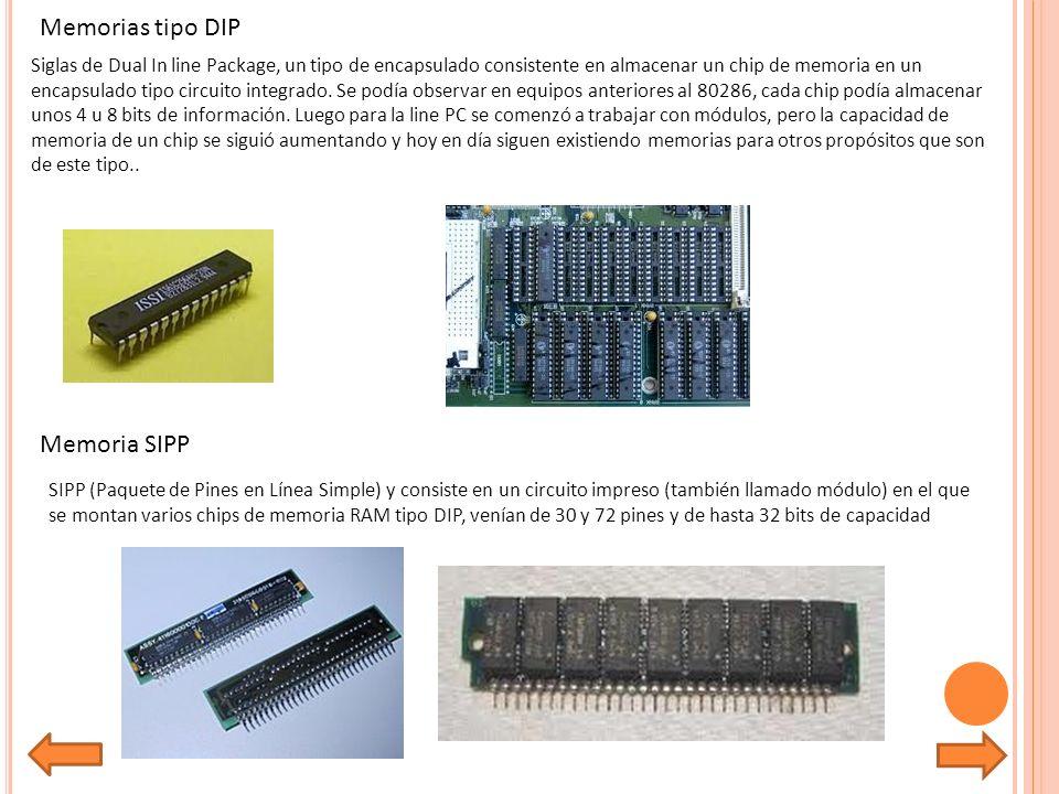 Memorias tipo DIP Siglas de Dual In line Package, un tipo de encapsulado consistente en almacenar un chip de memoria en un encapsulado tipo circuito integrado.