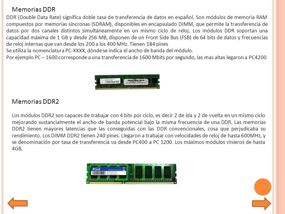 Memorias DDR DDR (Double Data Rate) significa doble tasa de transferencia de datos en español.