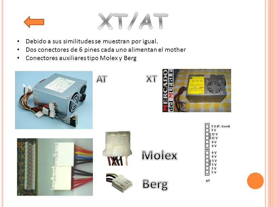 ATX versión 1 tenía 20 pines ATX versión 2 tiene 24 pines Tiene conectores auxiliares ATX 1B, conectores SATA y auxiliares para la placa de video.