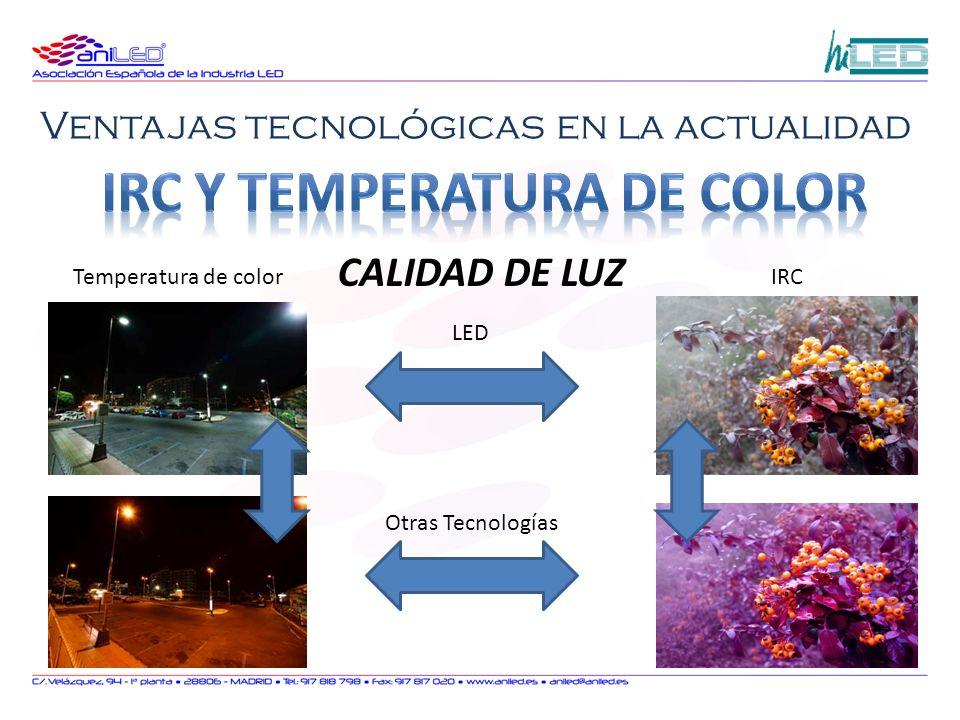 LED Otras Tecnologías Temperatura de colorIRC CALIDAD DE LUZ
