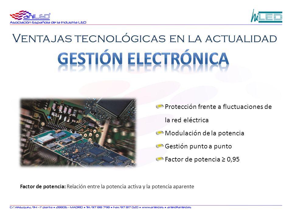Protección frente a fluctuaciones de la red eléctrica Modulación de la potencia Gestión punto a punto Factor de potencia 0,95 Factor de potencia: Rela