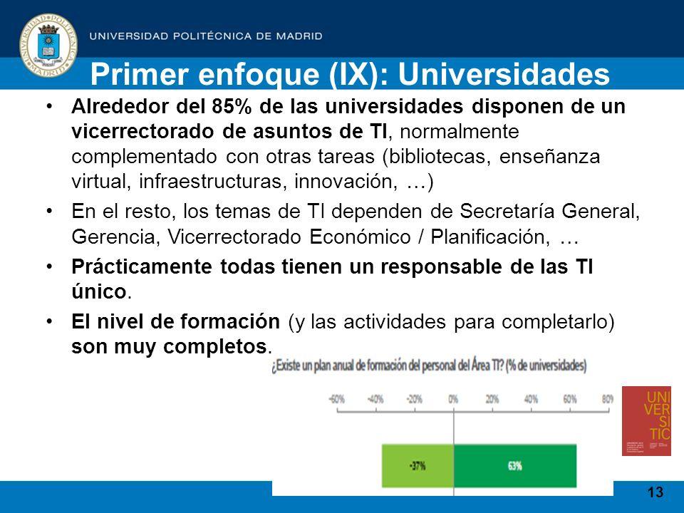 13 Alrededor del 85% de las universidades disponen de un vicerrectorado de asuntos de TI, normalmente complementado con otras tareas (bibliotecas, ens