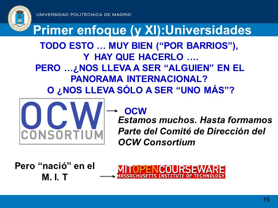 15 Primer enfoque (y XI):Universidades TODO ESTO … MUY BIEN (POR BARRIOS), Y HAY QUE HACERLO …. PERO …¿NOS LLEVA A SER ALGUIEN EN EL PANORAMA INTERNAC