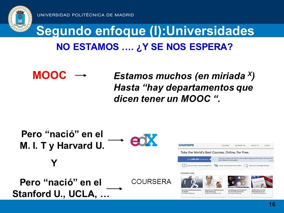 16 Segundo enfoque (I):Universidades NO ESTAMOS …. ¿Y SE NOS ESPERA? Estamos muchos (en miriada X ) Hasta hay departamentos que dicen tener un MOOC. P