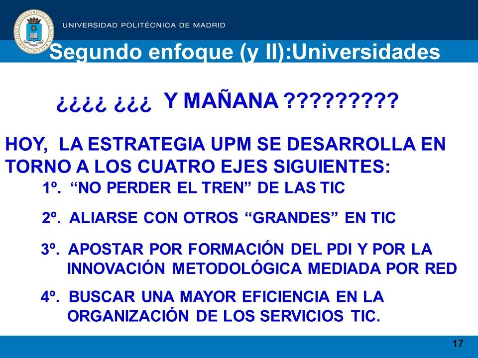 17 Segundo enfoque (y II):Universidades ¿¿¿¿ ¿¿¿ Y MAÑANA ????????? HOY, LA ESTRATEGIA UPM SE DESARROLLA EN TORNO A LOS CUATRO EJES SIGUIENTES: 1º. NO