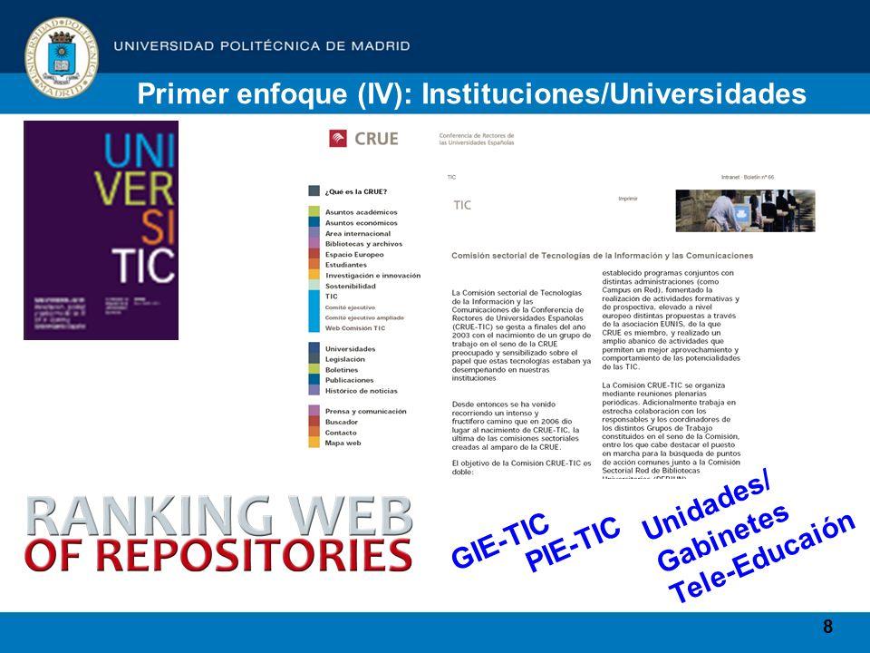 8 Primer enfoque (IV): Instituciones/Universidades GIE-TIC PIE-TIC Unidades/ Gabinetes Tele-Educaión