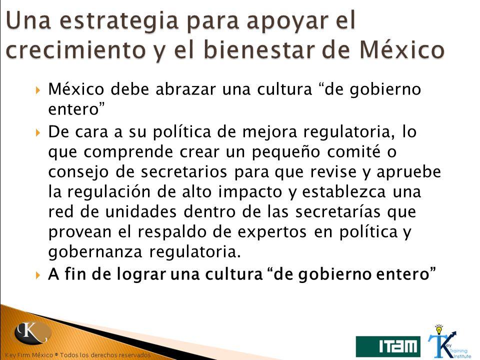 México debe abrazar una cultura de gobierno entero De cara a su política de mejora regulatoria, lo que comprende crear un pequeño comité o consejo de