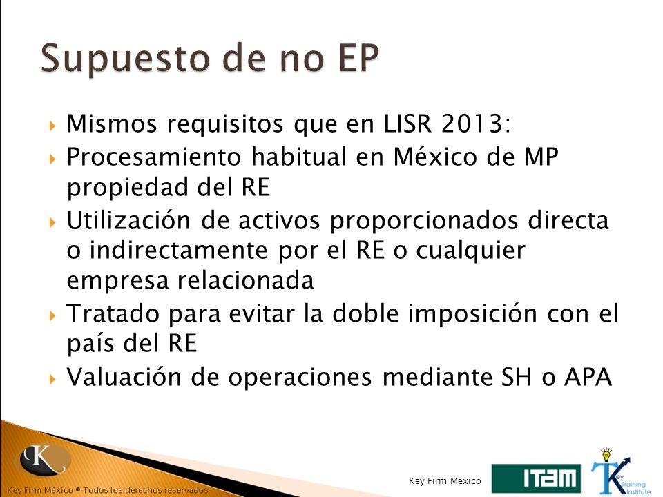 Mismos requisitos que en LISR 2013: Procesamiento habitual en México de MP propiedad del RE Utilización de activos proporcionados directa o indirectam