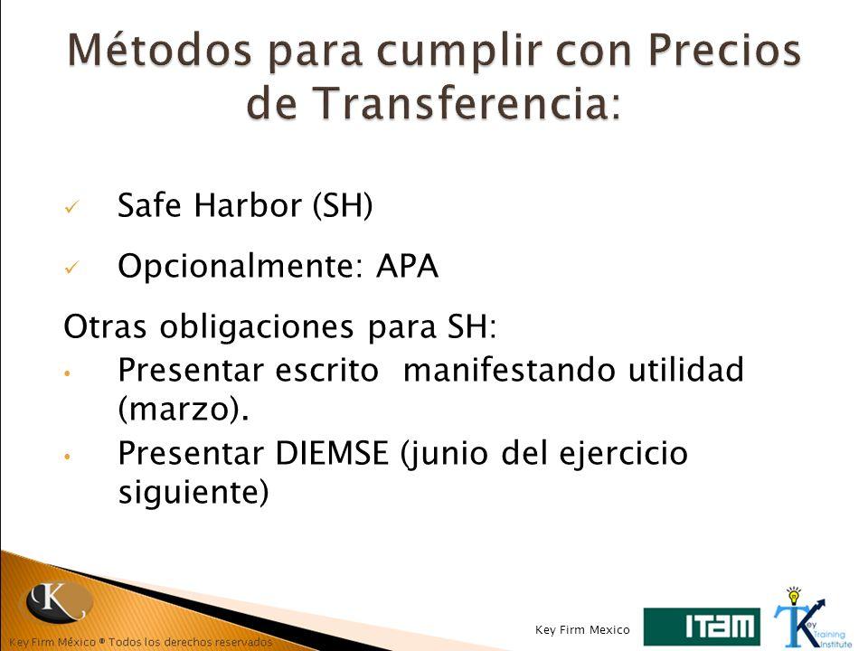 Safe Harbor (SH) Opcionalmente: APA Otras obligaciones para SH: Presentar escrito manifestando utilidad (marzo). Presentar DIEMSE (junio del ejercicio