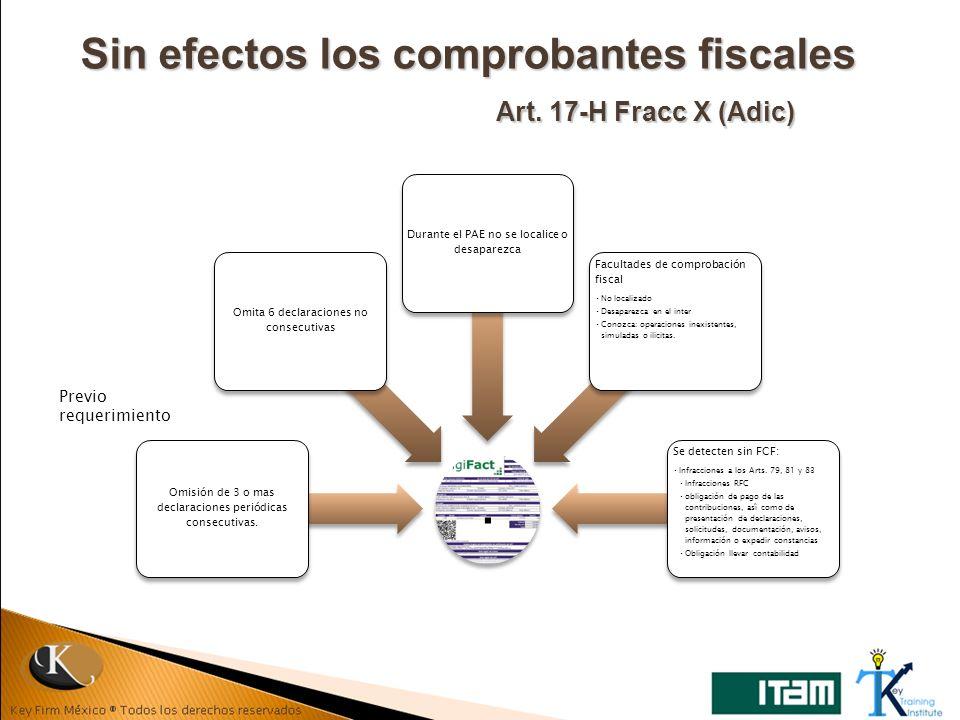 Sin efectos los comprobantes fiscales Art. 17-H Fracc X (Adic) Previo requerimiento