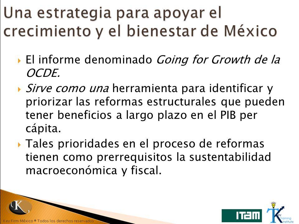El informe denominado Going for Growth de la OCDE. Sirve como una herramienta para identificar y priorizar las reformas estructurales que pueden tener