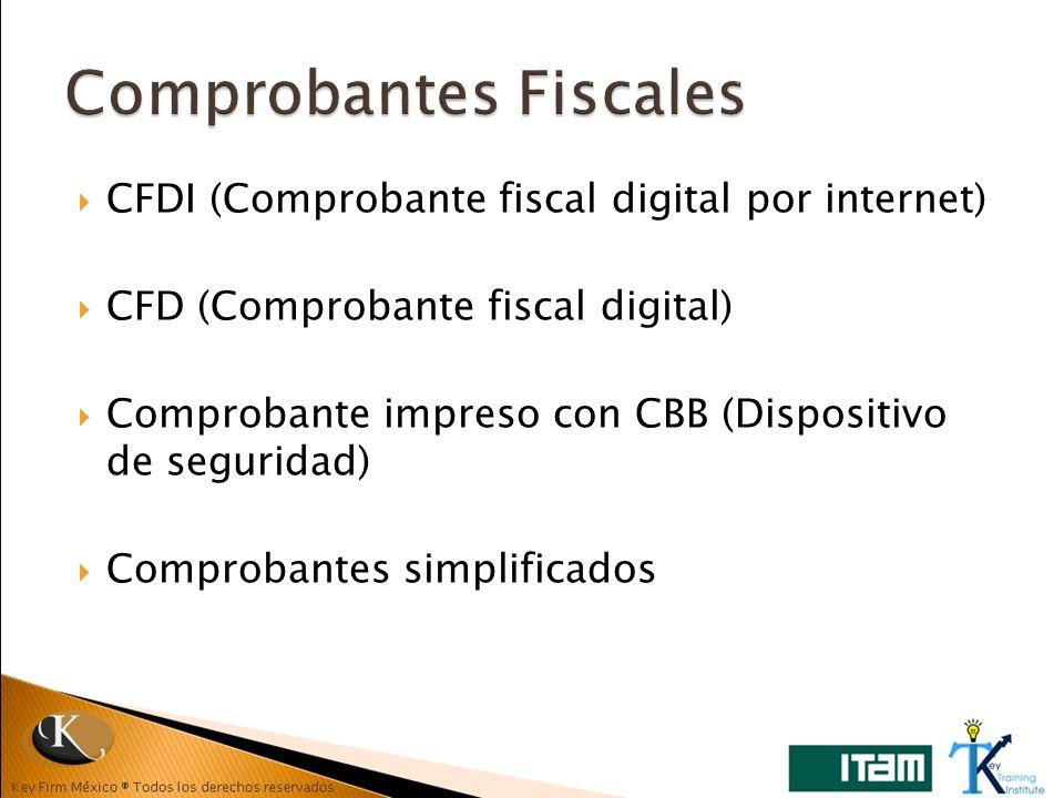 CFDI (Comprobante fiscal digital por internet) CFD (Comprobante fiscal digital) Comprobante impreso con CBB (Dispositivo de seguridad) Comprobantes si