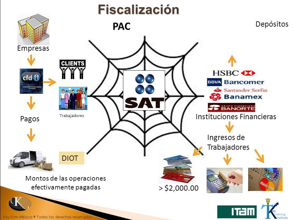 Fiscalización Empresas Pagos DIOT Montos de las operaciones efectivamente pagadas Instituciones Financieras Ingresos de Trabajadores > $2,000.00 PAC D