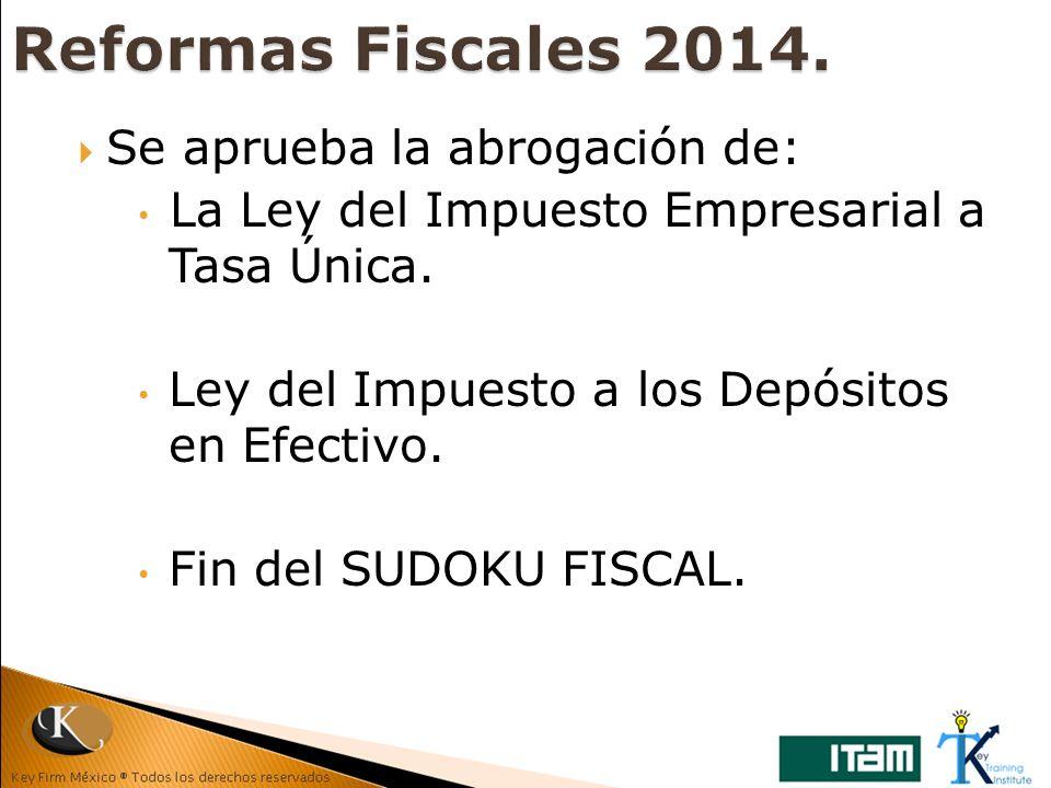 Se aprueba la abrogación de: La Ley del Impuesto Empresarial a Tasa Única. Ley del Impuesto a los Depósitos en Efectivo. Fin del SUDOKU FISCAL.