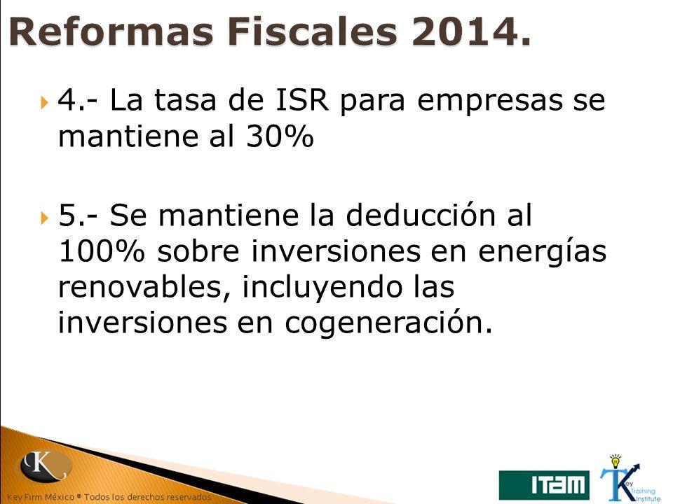 4.- La tasa de ISR para empresas se mantiene al 30% 5.- Se mantiene la deducción al 100% sobre inversiones en energías renovables, incluyendo las inve