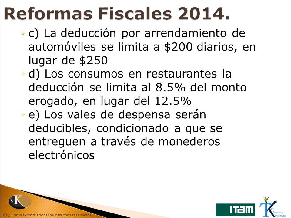 c) La deducción por arrendamiento de automóviles se limita a $200 diarios, en lugar de $250 d) Los consumos en restaurantes la deducción se limita al