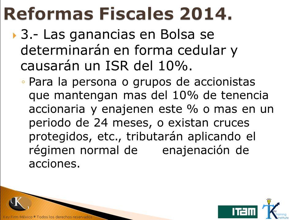 3.- Las ganancias en Bolsa se determinarán en forma cedular y causarán un ISR del 10%. Para la persona o grupos de accionistas que mantengan mas del 1