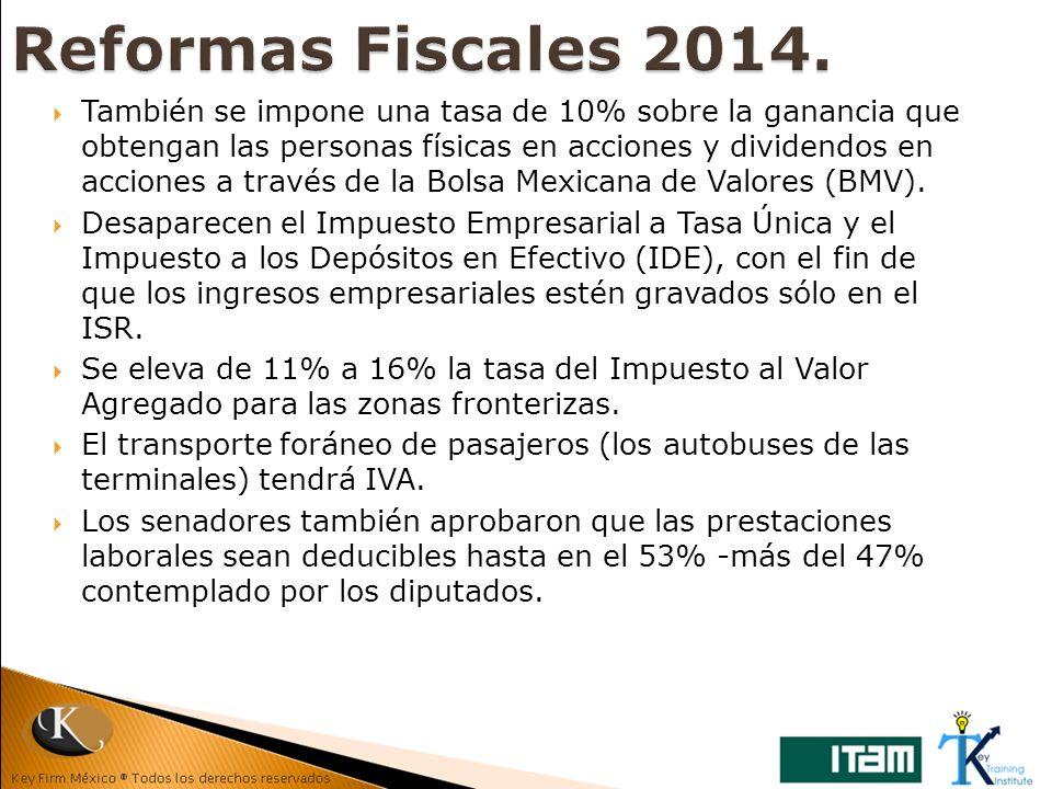 También se impone una tasa de 10% sobre la ganancia que obtengan las personas físicas en acciones y dividendos en acciones a través de la Bolsa Mexica